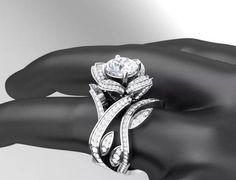 Stunning Rose Engagement Ring and Matching Wedding Band