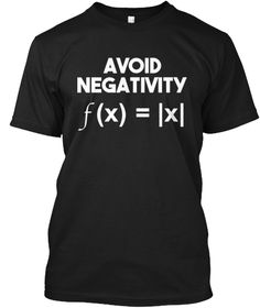 Avoid Negativity Funny Math Problem Tee Black T-Shirt Front