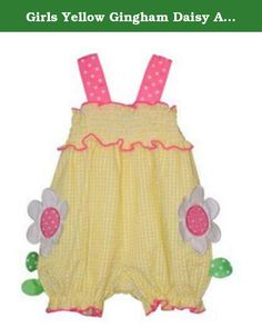 Girls Yellow Gingham Daisy Applique Bubble Infant Toddler Bonnie Jean (6/9 Months). Girls Bubble, Yellow Gingham Daisy Applique Bubble, Infant & Toddler, Bonnie Jean. Adorable yellow and white gingham check seersucker bubble, with pink polka-dot grosgrain ribbon shoulder straps, and pink piping on ruffle yoke & leg openings. Large pink & white daisy appliques on front, with green polka-dot leaves. Gathered bodice. Easy care, washable poly/cotton. Runs true to size.