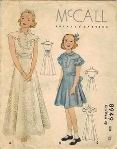 1930s McCall 8949 Vintage Sewing Pattern Girl's by midvalecottage