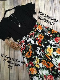 Agnes and Dora outfit Sale! Frill sleeve top and floral midi pleated skirt! Follow link to shop!