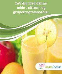 Tab dig med denne æble-, citron-, og grapefrugtsmoothie! Du kan bruge denne her #smoothie som et supplement til en sund og #varieret kost. Citron, æble og grapefrugt bekæmper #væskeophobning og gør det #lettere at tabe sig. Smoothie Detox, Juice Smoothie, Smoothie Drinks, Healthy Drinks, Healthy Recipes, Cook N, Clean Eating Snacks, Food Videos, Food Inspiration