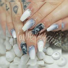 #nails #longnails #ballerina #square #ombre #grey #white #bambi #naildesign #nailtattoo #coffin