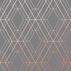 Charcoal Grey and Copper Diamond Geometric Wallpaper - Metro WOW002