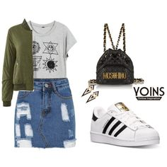 YOINS Bomber Jacket by tania-alves on Polyvore featuring adidas, Moschino and yoins