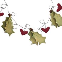 Holly & Heart Bunting Christmas decor by SuzanneLake on Etsy, £35.00