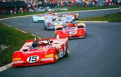 Jacky Ickx -15- (Ferrari 312), Rolf Stommelen -10- (Alfa Romeo T33/3), Joe Siffert (Porsche 908) - 1000Km Nurburgring Nordschleife