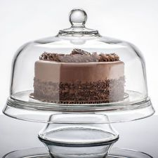 Anchor Hocking Glass Presence 4 in 1 Cake Stand and Dome Serving Platter