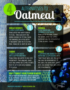 #Oatmeal is an #EatClean #breakfast stable, but these 4 alternatives are just as versatile and satisfying! #eatcleandiet #eatingclean #cleaneating #toscareno #cleanbreakfast #brekkie #grains #cereal #breakfastidea #quinoa #farro #millet #wheatberries #wheatberry