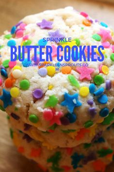 Super fun Sprinkle Butter Cookies that are perfect for this summer.  Get the kids to help you roll the dough in the sprinkles for a fun summer activity!!