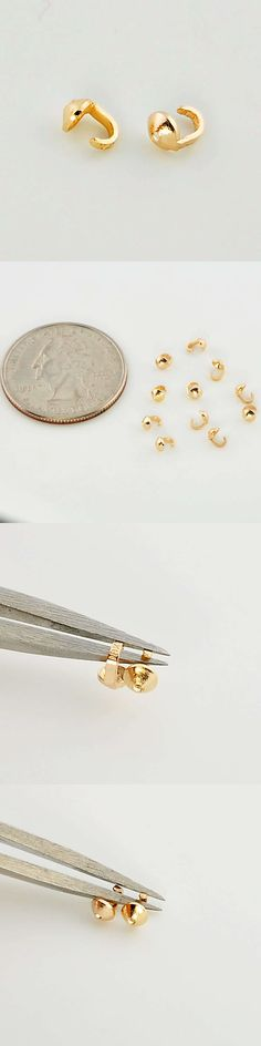 Crimp and End Beads 164354: 14K Solid Yellow Gold Crimp Hook Ends Findings BUY IT NOW ONLY: $49.5