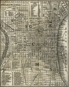 Map of the city of Philadelphia. The city is considered to be one of the first major cities within the U. to be planned out in a grid format. Best Vacation Destinations, Vacation Trips, Philadelphia Map, Philly Pa, Pennsylvania History, Delaware Valley, Map Design, Historical Maps, Best Cities