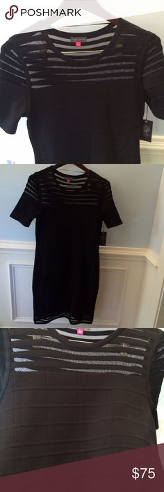 """Vince Camuto Black Dress Gorgeous, figure flattering """"graphic illusion"""" dress by Vince Camuto. Mesh detailing on top and hemline. Pictures don't show the shape of the dress well, but it fits like a glove without being tight. Size large. Vince Camuto Dresses"""