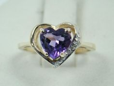 SOLID 10K YELLOW GOLD RING 6MM HEART SHAPE PURPLE AMETHYST DIAMOND 1.6g SIZE 3 #GTR #SolitairewithAccents