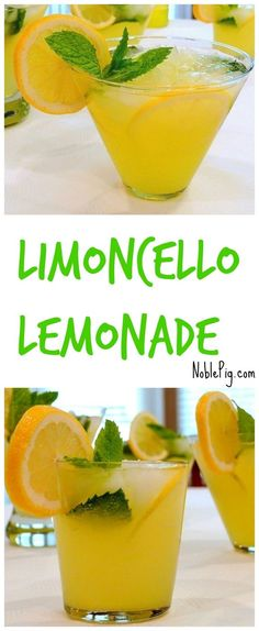 Limoncello Lemonade, refreshing and cold and perfect for summer from NoblePig.com.
