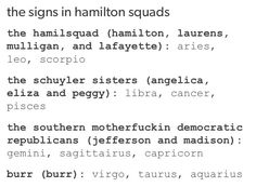 I'm the hamilsquad meanwhile my BFF and my BF are the southern motherfuckin democratic Republicans wonder how this works Mbti, Hamilton Lin Manuel Miranda, Famous Movie Quotes, Pisces, Aquarius, Sagittarius Women, Hamilton Musical, And Peggy, Dear Evan Hansen