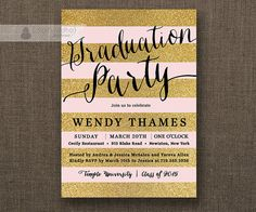 Blush Pink & Gold Glitter Striped Graduation Party Invitation by digibuddhaPaperie, $20.00