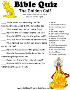 Printable bible quiz - The Golden Calf