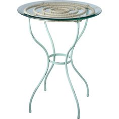 Bring coastal charm to your living room or den with this chic side table, featuring a glass top, turquoise finish, and rope accent.