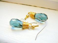 Gifts for her. Sapphire blue earrings. Faceted crystal teardrops. Wire wrapped. Gold. Dainty. Simple. Dressy. Everyday. under 20.00.