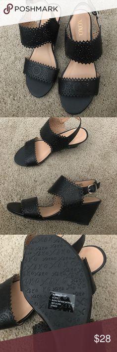Super cute black sandals size 8 Black lace style sandals size 8 XOXO Shoes Sandals