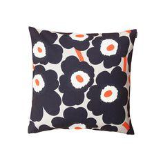 Marimekko - Pieni Unikko Cushion Case 50 x 50cm, white/ navy blue / orange