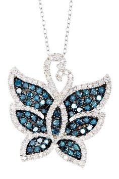 Two-Tone Blue & White Diamond Butterfly Pendant Necklace