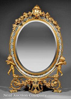 Henry Normant Enamel Gilt Bronze Dressing Mirror : Lot 96