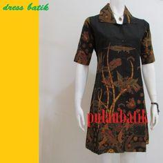 BATIK TULIS MODEL DRESS WANITA DB196 jual aneka model dan desain terbaru pakaian wanita dalam gaya baju dress batik kerja dengan bahan katun yang modis http://pulaubatik.com/category/dress-batik/