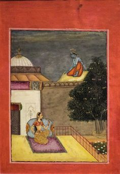 Illustration for the Rasikapriya, watercolor on paper from India, dated 1694, Honolulu Museum of Art. Date 	1694