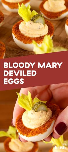 Bloody Mary Deviled Eggs = The Genius Party App You Never Knew You NeededDelish recipes Bloody Mary Deviled Eggs Devilled Eggs Recipe Best, Best Deviled Eggs, Deviled Eggs Recipe, Healthy Deviled Eggs, Fried Deviled Eggs, Avocado Deviled Eggs, Bloody Mary, Appetizers For Party, Appetizer Recipes
