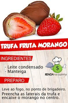 Trufa de morango - Trufa fruta de morango - Recheio de trufa de morango rápido. ■ CLIQUE NO PIN e descubra como VENDER e LUCRAR fazendo trufas na sua cozinha. #trufadefruta #trufademorango #trufacomfrutamorango #trufamorango #trufa #de #morango #recheio #trufafacil #comofazertrufas  Créditos: noivasconectadas Good Food, Yummy Food, Special Occasion, Sweets, Mini, Recipes, Strawberry Truffle, Sweet Like Candy, Stuffing Recipes