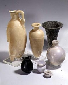 Selection of unguent vases made from breccia, diorite, blue marble and alabaster. Middle Kingdom, c.a. 2030-1640 B.C.