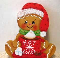 HP gingerbread Christmas ginger letter to Santa SHELF SITTER hand painted USA