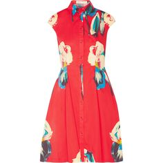 Lela Rose Floral-print stretch-cotton poplin shirt dress ($790) ❤ liked on Polyvore featuring dresses, red, red loose dress, long shirt dress, flower print dress, lela rose dresses and red shirt dress