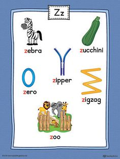 Letter Z Word List with Illustrations Printable Poster (Color) Worksheet.Use the Letter Z Word List with Illustrations Printable Poster to play letter sound activities or display on a classroom wall. Phonics Flashcards, Phonics Sounds, Alphabet Phonics, Teaching The Alphabet, Teaching Phonics, Preschool Learning Activities, Alphabet For Kids, Learning Letters, Alphabet Activities