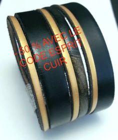 - 50 % avec le code esprit cuir- Bracelet Manchette multirangs tendance cuir plat noir , doré , noir mordoré, fermoir : Bracelet par creationsannaprague
