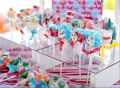 dr seuss cat in the hat thing one thing two red teal birthday party cake pops