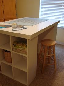 Chestnut Sparrow: Cutting Table with Storage. - Chestnut Sparrow: Cutting Table with Storage…. Sewing Room Storage, Sewing Room Decor, Sewing Room Organization, Craft Room Storage, Sewing Rooms, Studio Organization, Paper Storage, Organizing Tips, Basement Craft Rooms