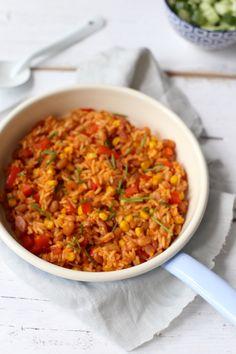 Snel rijstgerecht witte boontjes en spek