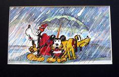 mickey,goofy, and pluto stuck in the rain.