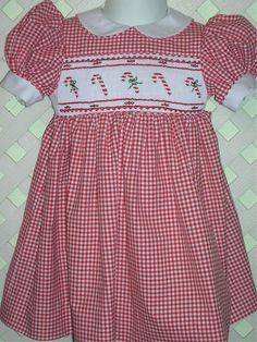 smocked christmas dress red gingham with candy by gumdropgrove 6495 - Smocked Christmas Dress