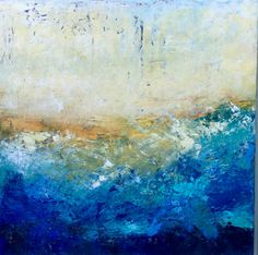 """Where the Blue is Deep and Soft and Silent,"" 24x24 inches, plaster, oil, and cold wax, waterline series, by Dayna J. Collins."
