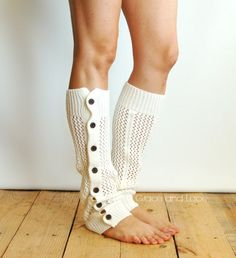 Nellie Knit - Off White - open weave button down leg warmer - legwarmers - button leg warmers - boot socks - Grace and Lace