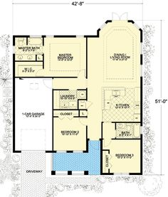 Compact Size with Three Bedrooms - 32210AA   Florida, Mediterranean, Narrow Lot, 1st Floor Master Suite, CAD Available, PDF   Architectural Designs