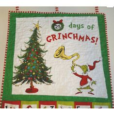 "Dr Seuss ""How The Grinch Stole Christmas"" Advent Calendar Fabric Panel Cotton RK 