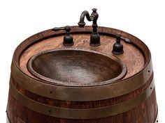 Wine Barrel Vanity Package is great for half bathrooms! #logfurnitureplace | rustic furniture | wine barrel furniture