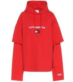 X Tommy Hilfiger cotton-blend sweatshirt Stage Outfits, Kpop Outfits, Fashion Outfits, Red Long Sleeve Tops, Adidas Outfit, Hooded Sweater, Hoodies, Sweatshirts, Aesthetic Clothes