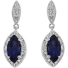 Sterling Silver Created Sapphire and 1/10ct TDW Diamond Earrings (I-J, I3) | Overstock.com Shopping - Top Rated Gemstone Earrings