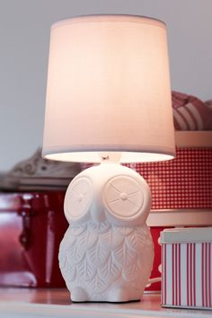 White fabric lampshade, ceramics, lighting by Markslöjd. Item No. Lamp Light, Light Up, Children's Lighting, Handmade Lampshades, Fabric Lampshade, White Fabrics, Table Lamp, Ceramics, Kids